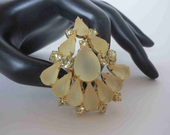 Jonquil & Frosted Yellow Rhinestone Brooch