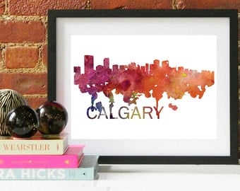 Calgary Art, Calgary Skyline, Calgary map, Calgary wall art, Calgary map print