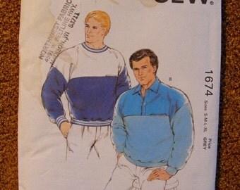 51% OFF Men's Loose Fitting Sweatshirt Uncut Kwik Sew Sewing Pattern 1674 Size s m l xl