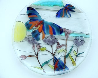 Fused glass plate,home decor plate,painted plate,gift for home,decorative plate