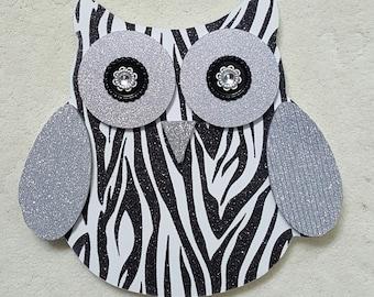Silver Glittery Zebra Owl