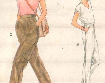 "Vogue 7306, Sz 6/Hips 32.5"".  Ladies Retro Cargo Pants with cinched tab closure/Slim Pants with pockets/Capri Pants, Vintage sewing Pattern"