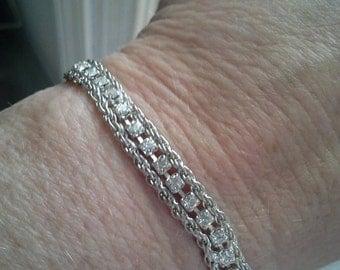 """Beautiful Art Deco Korea Sterling Crystal 7"""" Chain Bracelet"""