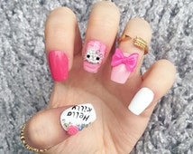 NAILED IT! Hand Painted False Nails - Hello Kitty