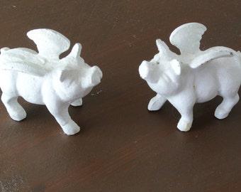 Shabby Chic Cast Iron Flying Pig set