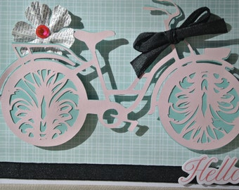 Shabby Chic French Bicycle Hello Card