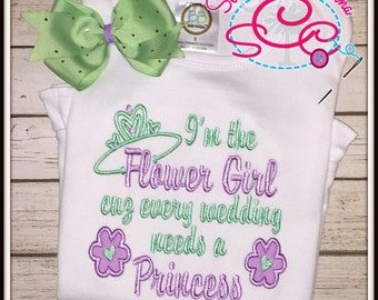 Flower Girl Shirt/Bodysuit and Coordinating Hairbow
