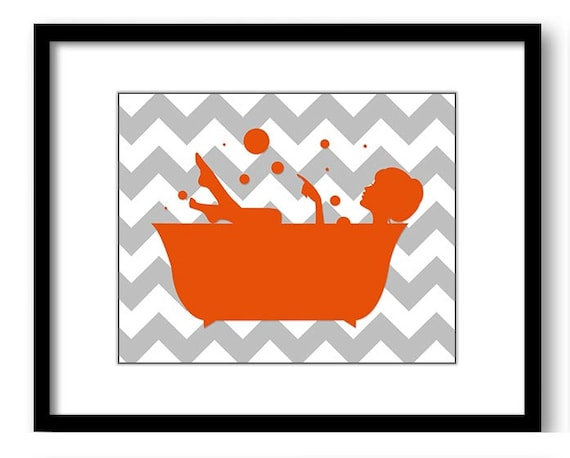 Bathroom decor bathroom print orange silver grey girl with for Orange and grey bathroom accessories