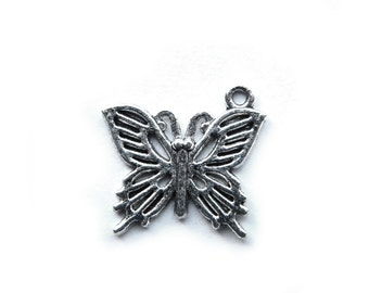 10 Silver Butterfly Charms