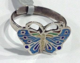 Silver enamel butterfly ring