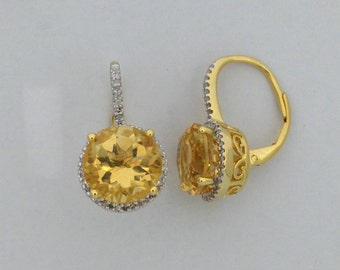 Natural Citrine with Natural Diamond Earrings 925 Sterling Silver