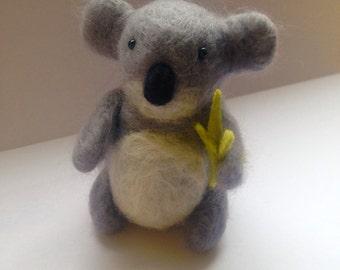 Needle Felted Koala Bear with bamboo