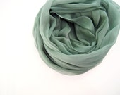 Sage Green Silk Scarf, Dusty Green Fall Silk Shawl, Womens Mens, Extra Large Silk Wrap, Hand Dyed Sheer Silk, Long Gray Green Sheer Scarf