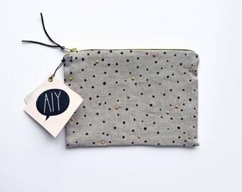 SPARKLING Dots/ hand screen printed linen makeup bag with dot print and golden studs/ grey case/ bridesmaid gift bag