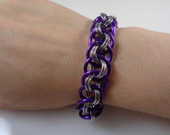 Purple Viper Basket Chainmail Bracelet; Amethyst Chain Mail Bracelet; Chainmaille Bracelet; Chain Maille Bracelet; Chainmail Bracelet