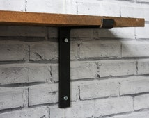 Pair Of Industrial Style Steel Shelf Brackets, Scaffold Board Shelving, Will Accept a Shelf Width of Up To 200mm