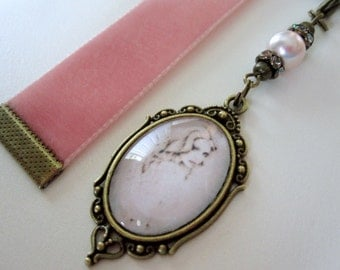 Dusty Lt. Victorian Pink Velvet Ribbon Bookmark w/ Lady Cameo