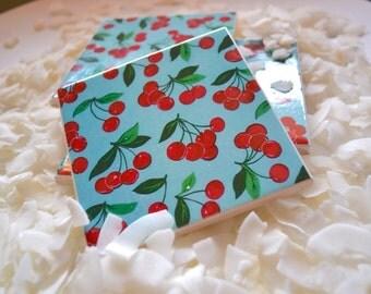 Ceramic Tile Coasters - Cherry Pie