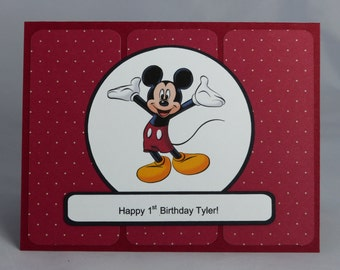 Handmade Greeting Card:  Personalized Mickey Mouse Birthday Card, Disney, Child, Child's, Toddler, Boy, Girl, Son, Daughter, Grandchild