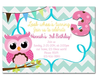 Owl birthday invite, birthday invitation, owl invitation, owl party, owl birthday party, digital invites, digital invitation