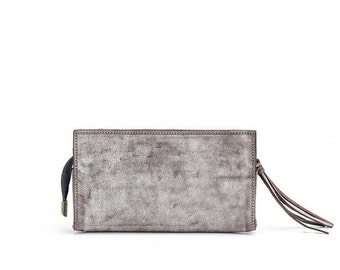White stone wash leather wallet- leather purse- white Leather Wallet, Women Leather Clutch, Leather Clutch
