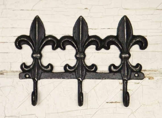 cast iron wall hookfleur de lis wall by colorfulcastandcrew. Black Bedroom Furniture Sets. Home Design Ideas
