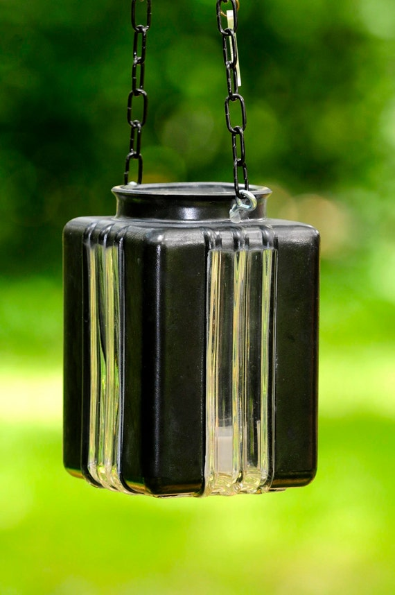 Hanging candle holders black glass rustic lantern by for Alternative candle holders
