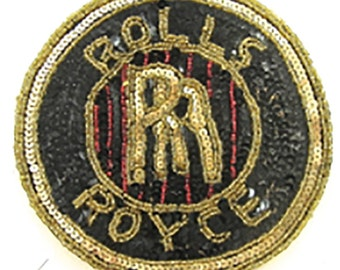 "Rolls-Royce Car Emblem Patch Applique, Sequin Beaded  6"""