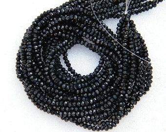 3MM Black Spinel Beads, AAA Finest Quality, 13 inches Length, Faceted Rondelle Strand