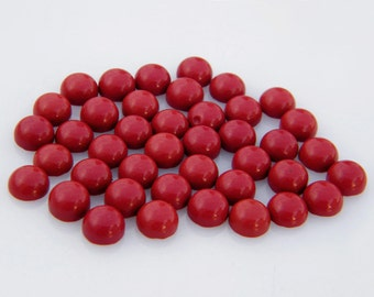 Red Coral Cabochons, 7MM Calibrated Round Cabochon For Jewelry Making M-64