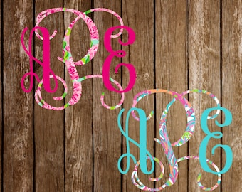 Lilly Pulitzer Inspired Two Color Vinyl Monogram Personalized Decal