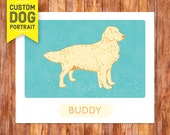 Custom Dog Portrait Golden Retriever Wall Art Print – custom dog portrait