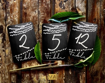 1-15 Rustic Wedding Table Numbers with lights, Printable Wedding Table Numbers, Wedding Table Decor, 4x6 Table Number Card, 5x7 Table Number