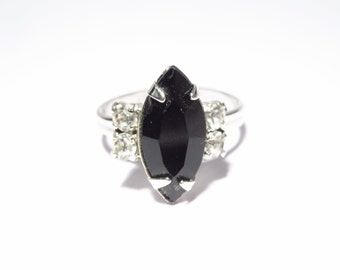 Sarah Coventry Black Rhinestone Ring Adjustable Vintage Signed