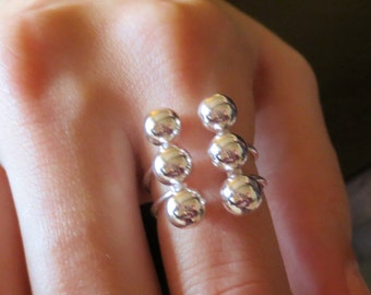 Sterling Silver Top Adjusting Ring/Statement Ring/Trendy Ring/.925 Sterling Silver Woman's Ring/Ball Ring/Large Sterling Ring/Bold Ring