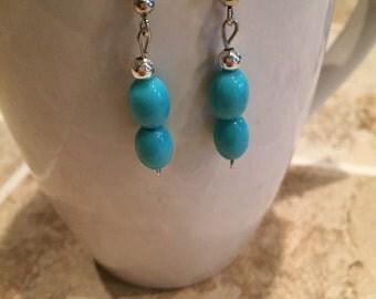 Turqouise bead earrings, dangle earrings