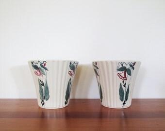 Abingdon Pottery Floral Cream Planters Pair 152
