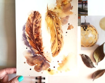 Original Watercolor Painting, Golden Feathers, Feathers Painting, Watercolour Illustration