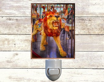 Newborn Night Light - Lion - New Orleans art -  Handmade - Copper Foiled - Childrens room - Nursery Art - Lighting -