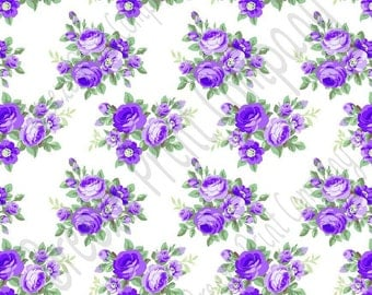 Purple rose floral craft  vinyl sheet - HTV or Adhesive Vinyl -  with white background flower pattern vinyl  HTV2219