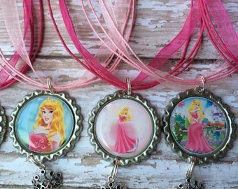 Set of 6 Aurora party favor necklaces.. Sleeping beauty party.. Sleeping beauty party favor.