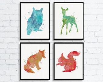 Woodland Wall Art, Woodland Nursery Decor, Animal Nursery, Woodland Animals, Animal Prints For Nursery, Owl, Fawn, Fox, Squirrel, Watercolor