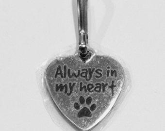 Always in my Heart Zipper Charm