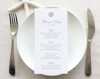 Seashell Wedding Menus, Beach Wedding Menus, Shell Menu Cards, Shell Wedding Reception Menus, Destination Wedding Menus, Rehearsal Dinner