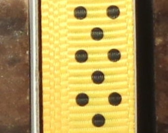 "2 Yards 3/8"" Swiss Dots - Yellow with Black Swiss Dots Grosgrain Print Ribbon"