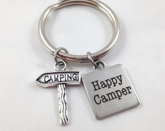 Camping Keychain, Happy Camper Keychain, Outdoor Accessory, Summer Keychain, Camping Sign Charm, Gift for Camper, Gift Under 10