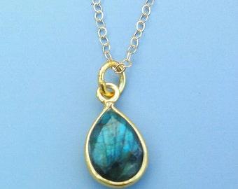 Labradorite Necklace, Gemstone Necklace, Gold Gemstone Jewelry, Teardrop Gemstones, Labradorite, Gold Necklace,