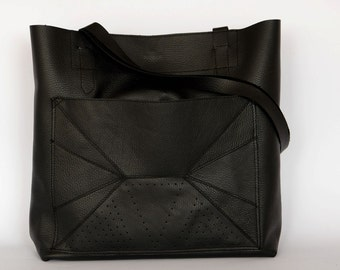 Leather tote bag, handmade leather tote bag, black leather tote bag, CollectionWN