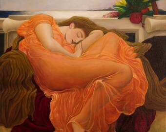 Flaming June Reproduction (Sir Frederic Leighton 1895) Painted Old masters technique