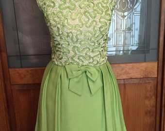 Lime Green Ribbon and Lace 1950s 1960s Evening Dress VLV